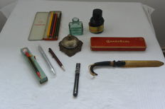 Office Accessories and pens, includes an antique table Bell