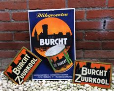 Burcht Zuurkool advertising boards made of metal and cardboard, 1940s/1950s