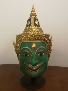 "Khon mask ""Phra Indra"" Hindu Deva (real size to head) - Thailand - mid 20th century"