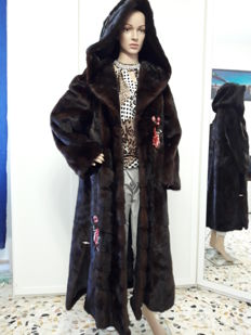 Mink fur coat - Long coat / swinger with hood - Made in Italy