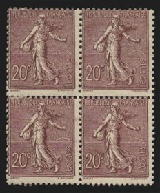France 1903 - Semeuse 20 c brown-lilac in block of 4 - Yvert 131
