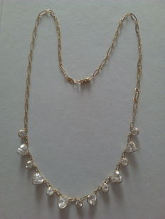 18 kt gold choker with crystals 45.5 cm