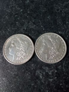 USA - 1 Dollar 1890 and 1896 - 2 coins - silver