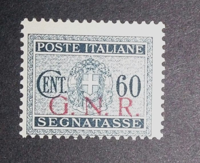 """Italy 1943 – Postage Due 60 cents """"G.N.R."""" variation position 54 – Sass.  No. 54/I"""