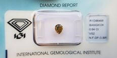 Natural Diamond - 0.64 ct - Pear Modified Brilliant cut -  Natural Fancy Deep Orangy Brown - VS2