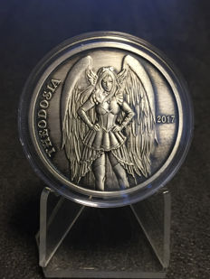 USA - Angels and Demons Theodosia 2017-1 oz silver - antique silver finish - edition only 1500 pieces
