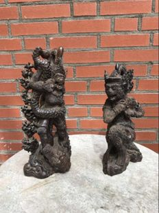 Two hardwood statues of apes - Bali - Indonesia - 2nd half 20th century
