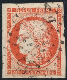 France 1849 - Cérès 40 c orange cancelled with diamond - Yvert no. 5