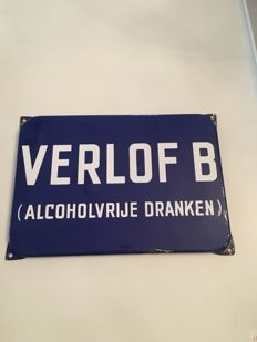 Enamel sign.