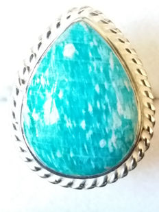 12.59cts Genuine Russian Amazonite Gemstone Dress ring.