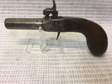 Single-shot percussion pistol with eight-sided barrel/Belgium 1800