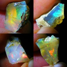 Four Top Lot of Colour Play Effect Welo Opals Ethiopia - 21.32 ct (4)