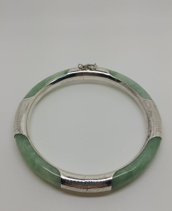 A vintage light green Jade stone Bangle set  silver