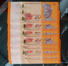 Malaysia - lot of 9 banknotes - 20 dollar 12th series 2012 dr.zeti signature - serial number BP3333303/13/23/43/53/63/73/83/93