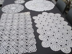 Center Table - lot of five crocheted table cloths, completely hand made.