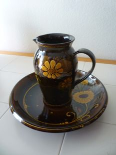 WA Heimberg Pottery - Classically decorated water jug and serving plate
