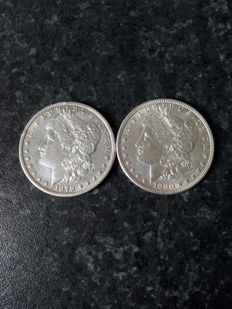 USA - 1 Dollar 1879o and 1880 - 2 pieces - silver