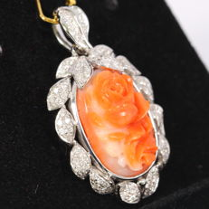 7.82ct Natural Coral Carving 14K White Gold 4.93grams Diamond Pendant (No Reserve)