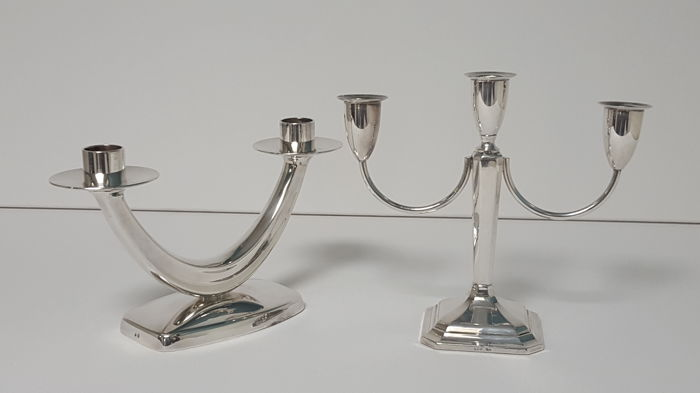 Art Deco 2 x candlestick silver plated