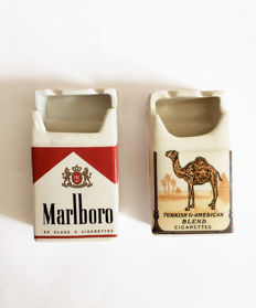 2x Marlboro and Camel ceramic ashtrays