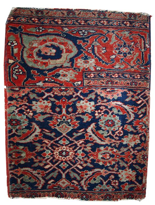 Hand made antique collectible Persian Bidjar Wagireh rug 1.5' x 2' ( 47cm x 61cm ) 1900s