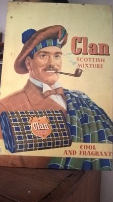 Clan Tobacco old tin sign  -1961
