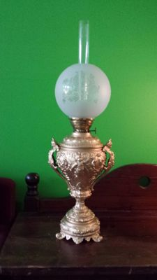 Large gold plated French oil lamp