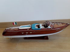Riva Aquarama, 50 cm, with white and light blue upholstery