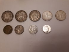 France - Lot of  9 coins 1876/1994 (including 6 in silver)
