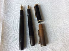 2 golden fountain pens brand pelikan Noticed 585 - 14 carat - first half of the twentieth century gunther Wagner Golden Crown