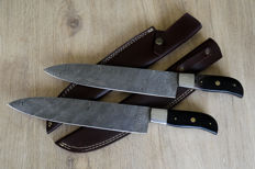 Custom made damascus steel Chef kitchen pair of 2 knife's set.