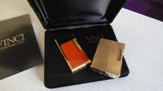 S.T. Dupont golden lighter + Vinci Chinese lacquer and gold Paris