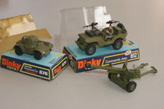 Dinky Toys - Scale 1/32-1/48 - Commando Jeep no.612, Daimler Armoured Car no.676 and 6-Pounder Anti Tank Gun no.625