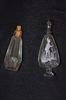 2 crystal scent vials with silver- and gold-plated cap, Biedermeier period, mid-19th century