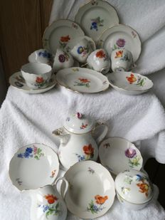 Meissen Mocha Service for 6 People 21 Pieces