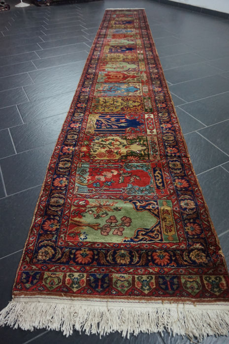Magnificent hand-knotted Info field Qom runner XXL 70 x 500 cm Made in India