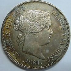 Spain – Isabel II – 20 silver reales – 1861 – Madrid.