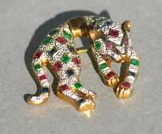 Panther brooch inlaid with gemstones: rubies, emeralds and sapphires