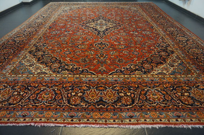 Very beautiful fine antique Persian palace carpet Kashan patina finest cork wool made in Iran 330 x 420 cm