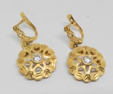 Earrings in 18 kt yellow gold - zirconias