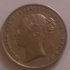 Great Britain - one Shilling - 1858 - Young Head with Royal Mint  Die Crack Flaw - silver