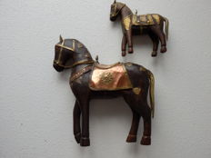 Set of 2 Wooden Horses with copper fittings