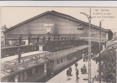 Superb lot of 42 old postcards with trains, stations and tramways