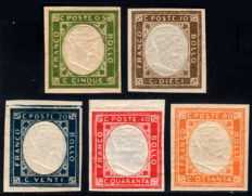 Neapolitan Provinces 1861 — Complete series of 5 non-issued values