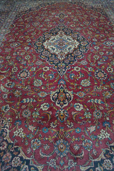 Very beautiful fine antique Persian palace carpet Kashan patina finest cork wool made in Iran 270 x 380 cm