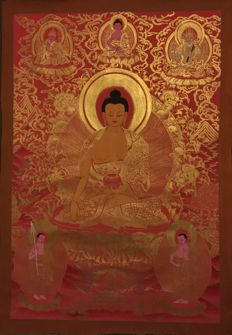 Large Master Piece Hand painted Thangka painting, Shakyamuni  Buddha  - Tibet/Nepal - late 20th century
