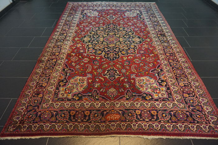 Old hand-knotted Art Nouveau Persian palace carpet, Mashad, 210 x 310 cm, made in Iran, signed by the master knotter