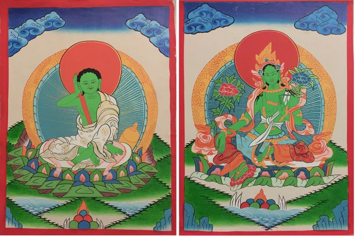 Two  Hand painted Thangka painting, representing Green Tara & Milareppa - Tibet/Nepal - late 20th century