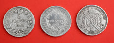 France – 5 Francs 1832-BB, 1867-A, 1873-A (lot of 3 coins) – Silver.