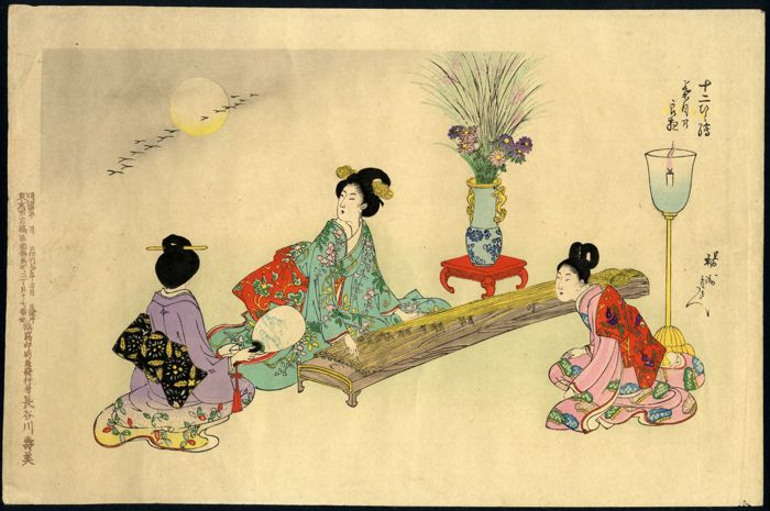 Rare original woodblock print by Toyohara Chikanobu (1838–1912) – Playing Koto – Japan – 1897